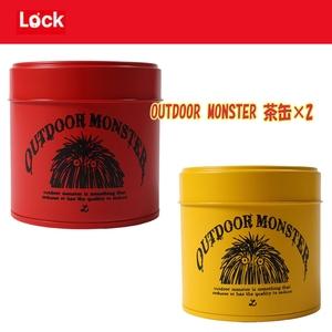 アウトドア&フィッシング ナチュラムLock(ロック) OUTDOOR MONSTER茶缶x2【お得な2点セット】 レッドxブラック TEA-001+TEA-002