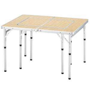 【送料無料】BUNDOK(バンドック) グリルテーブル 98x80cm 分割して使用可能 バーベキュー/レジャーテーブル バンブー柄 BD-221