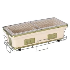 BUNDOK(バンドック) 長角七輪ロング 22x55cm 卓上使用可能のスタンド付き 魚焼けます BD-424