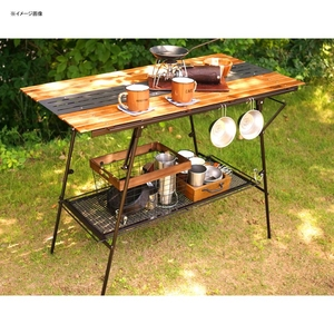 ネイチャートーンズ(NATURE TONES) 2WAY ハイ テーブル(天板Wood+メタル) 3WHT-WM-DB キャンプテーブル