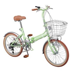 【送料無料】キャプテンスタッグ(CAPTAIN STAG) エリーサ FDB206BAA 折り畳み自転車 20インチ 6段変速 カゴ付 カギ付 20インチ ライトグリーン YG-268