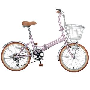 【送料無料】キャプテンスタッグ(CAPTAIN STAG) エリーサ FDB206BAA 折り畳み自転車 20インチ 6段変速 カゴ付 カギ付 20インチ ピンク YG-269