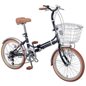 【送料無料】キャプテンスタッグ(CAPTAIN STAG) エリーサ FDB206BAA 折り畳み自転車 20インチ 6段変速 カゴ付 カギ付 20インチ ネイビー YG-270
