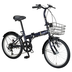 【送料無料】キャプテンスタッグ(CAPTAIN STAG) ラケット FDB206 折り畳み自転車 6段変速 カゴ付 20インチ ダークブルー YG-799