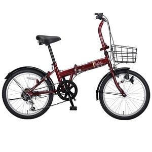 キャプテンスタッグ(CAPTAIN STAG) ラケット FDB206 折り畳み自転車 6段変速 カゴ付 YG-800 20インチ変速付き折りたたみ自転車