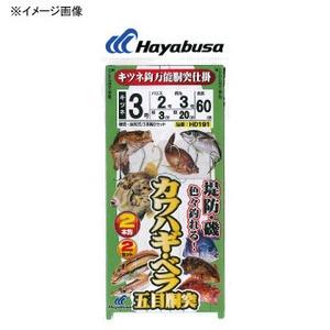 ハヤブサ(Hayabusa) 堤防カワハギ・ベラ五目胴突 キツネ 鈎2本鈎2セット 鈎4/ハリス3 白×金 HD191