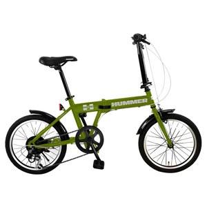 【送料無料】HUMMER(ハマー) 折りたたみ自転車 18インチ マットグリーン FDB186 IW-III