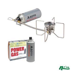 SOTO レギュレーターストーブ FUSION(フュージョン)+パワーガス 3本パック【2点セット】 ST-330+ST-7601 ガソリン式