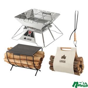 ロゴス(LOGOS) LOGOS the ピラミッドTAKIBI XL+薪ラックテーブル+薪ばさみ+らくらく薪キャリー 81064161