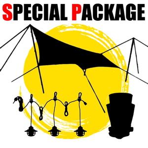 ナチュラム テントと連結できるT/C素材タープ+キャンプ小物2種【お買い得(秘)パッケージ】