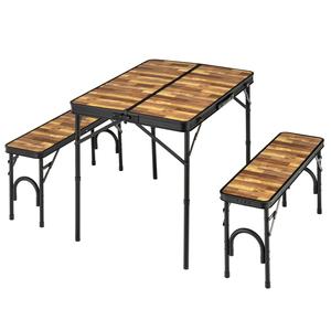 BUNDOK(バンドック) テーブル&ベンチセット 木目 BD-230WB