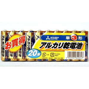 MITSUBISHI(三菱電機) アルカリ乾電池 単3形 20本入 LR6N/20S 電池&ソーラーバッテリー