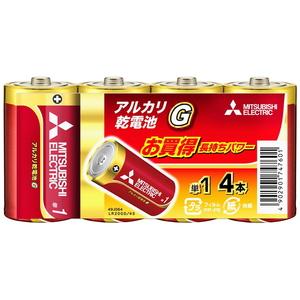 MITSUBISHI(三菱電機) アルカリ乾電池 単1形 4本入 長持ちパワー Gシリーズ 使用推奨期限5年 LR20GD/4S