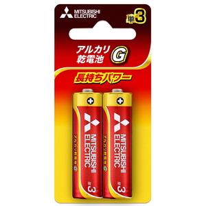 MITSUBISHI(三菱電機) アルカリ乾電池 単3形 2本入 ブリスターパック 長持ちパワー Gシリーズ 使用推奨期限5年 LR6GD/2BP