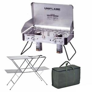ユニフレーム(UNIFLAME) ツインバーナー US-1900+キッチンスタンドIII+UFギアバッグ50【3点セット】 ガス式