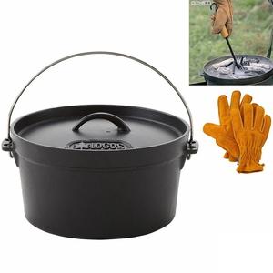 ロゴス(LOGOS) ダッチオーブン10インチ+ウッドグリップリフター+BBQ耐熱レザーグローブ【お得な3点セット】 81062229