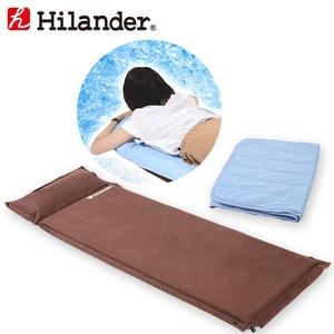 Hilander(ハイランダー) スエードインフレーターマット9.0cm+冷感敷パット【お買い得2点セット】 UK-9+N-01