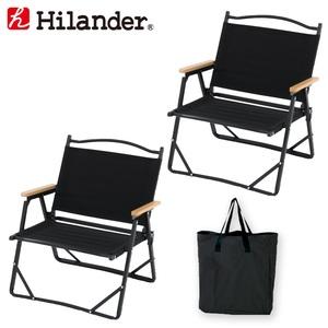 Hilander(ハイランダー) アルミデッキチェア×2+キャリートートバッグ【お得な3点セット】 HTF-DCBKHTF-TBAG 座椅子&コンパクトチェア