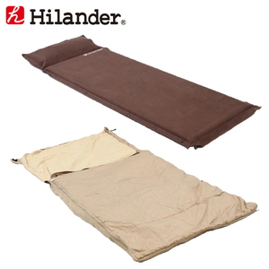 Hilander(ハイランダー) スエードインフレーターマット(枕付きタイプ)5.0cm×スーパーコンパクトシュラフ【お得な2点セッ】