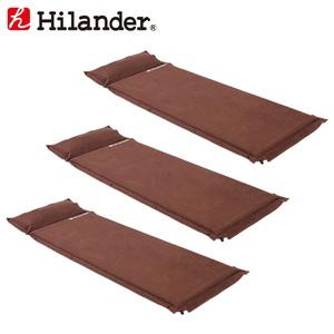 Hilander(ハイランダー) スエードインフレーターマット(枕付きタイプ) 5.0cm【お得な3点セット】 UK-2 インフレータブルマット