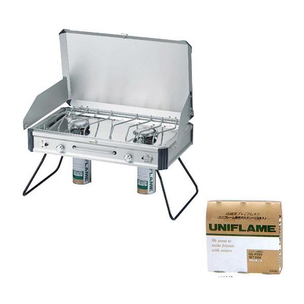 ユニフレーム(UNIFLAME) ツインバーナー US-1900+プレミアムガス(3本)UG-P250【お得な2点セット】 610305+650042 ガス式