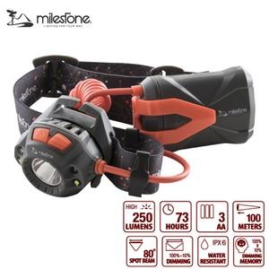 マイルストーン(milestone) MS-E1 ヘッドライト 最大250ルーメン 単三乾電池式 MS-E1