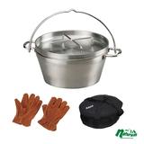 SOTO ステンレスダッチオーブン10インチ+収納ケース+アウトドア レザーグローブ ダッチオーブン