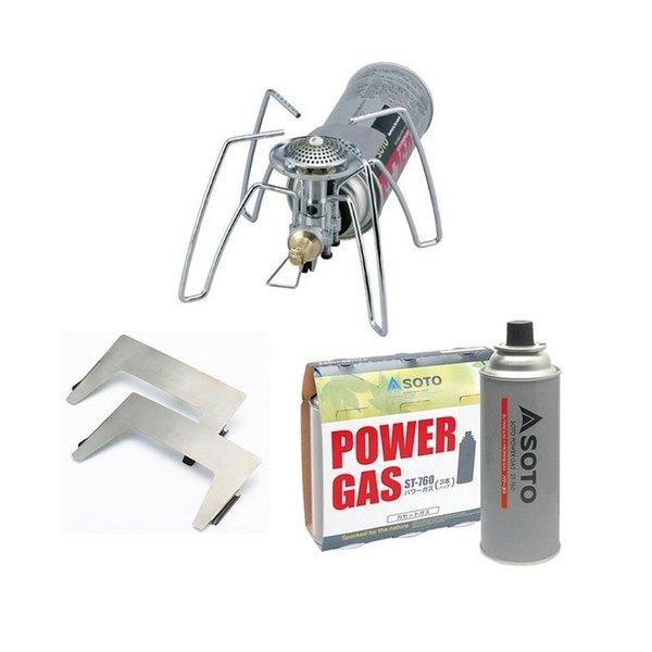 SOTO レギュレーターストーブ+パワーガス+専用ウインドスクリーン【3点セット】 ST-310 ガス式