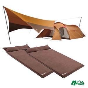 スノーピーク(snow peak) エントリーパック TT+キャンプ用スエードインフレーターマット枕付きタイプ×2【3点セット】 SET-250