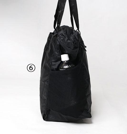 パタゴニアウルトラライトブラックホールトートパックのメッシュポケット