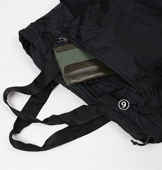 パタゴニアウルトラライトブラックホールトートパックのフロントポケット