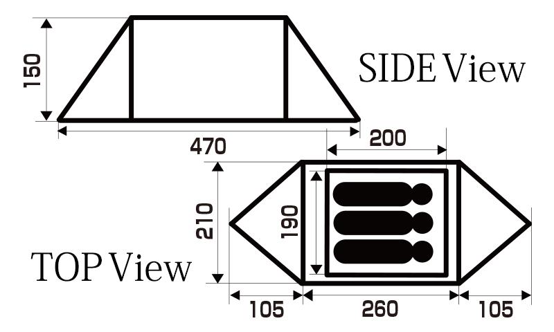 ハイランダー テント アルネスは、簡易の前後室を搭載したモデル